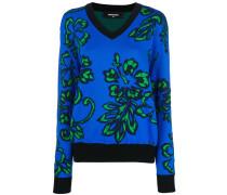 V-neck hibiscus sweater