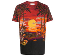 T-Shirt mit Strand-Print