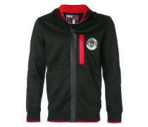 zip front logo hoodie