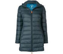 hooded padded midi coat