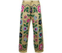 cropped embroidered trousers