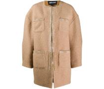 Kokon-Mantel mit aufgesetzten Taschen