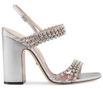 Metallic-Sandalen mit Kristallen