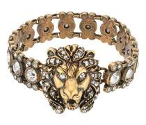 Kristallverziertes Armband mit Löwenkopf
