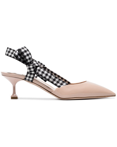 55 Gingham Ribbon Slingback Pumps