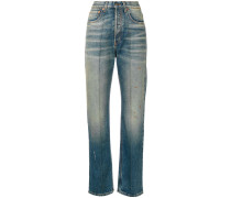 embroidered faded jeans