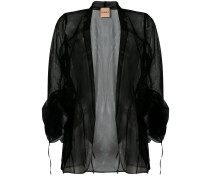 ruched-sleeve sheer blazer