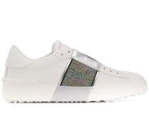 'Open' Sneakers mit Glitter
