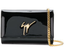 glossy logo clutch bag