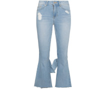 Cropped-Schlagjeans in Distressed-Optik