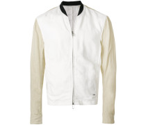 contrast sleeve bomber jacket