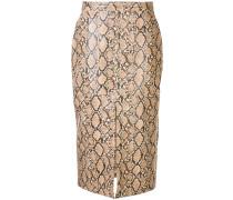 front slip python print skirt
