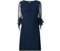 sheer puff sleeve shift dress