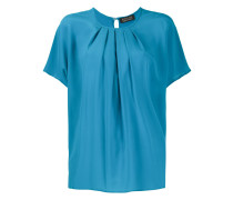 pleated-neck blouse