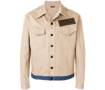 Jeansjacke mit kontrastfarbigem Saum