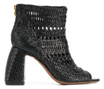 weaved open toe boots
