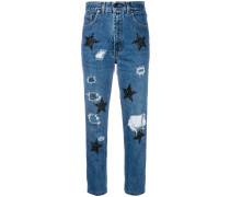Cropped-Jeans mit glitzernden Stern-Patches