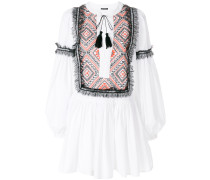 pattern print and lace trim mini dress
