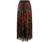 rose print pleated skirt