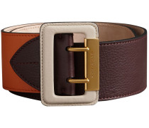 Colour Block Grainy Leather Belt