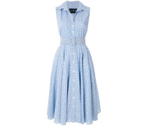 printed belted waist dress