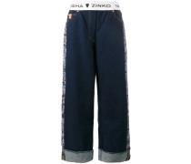 Weite Jeans mit Jacquard-Einsätzen