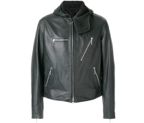 hooded zipped biker jacket