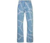 Gerade Jeans mit Ketten-Print