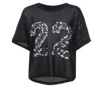 '22' Cropped-T-Shirt mit Netzeinsätzen