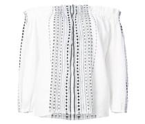 Schulterfreie Bluse mit gestreiften Details