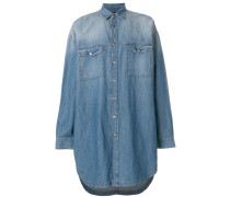 long line faded denim shirt