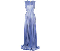 pleated design cut out sides gown