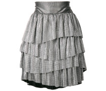 metallic ruffled mini skirt