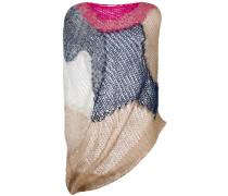 colourblock loose knit asymmetric top