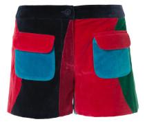 Samt-Shorts mit aufgesetzten Taschen