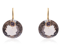 Smokey quartz and round sapphire earrings