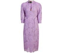 belted neck lace dress