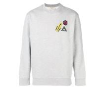 Meliertes Sweatshirt mit Patches