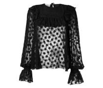star ruffled sheer blouse