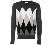 cashmere intarsia knit sweater