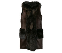 hooded sleeveless coat