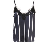 striped lace trim cami