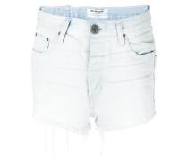 patchwork pocket denim shorts