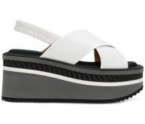 Flatform-Sandalen mit gekreuzten Riemen