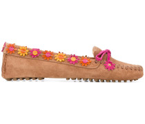 Loafer mit Blumenapplikationen