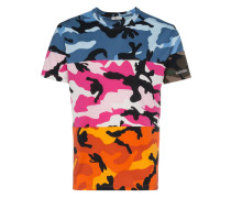 panelled camouflage print cotton t shirt