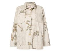 oversized foliage print denim jacket