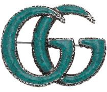 Enameled Double G brooch