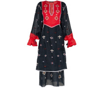 embroidered tiered linen dress