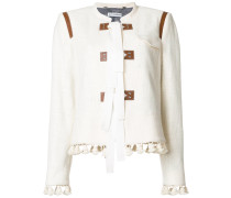 tassel trim jacket with tie fastening